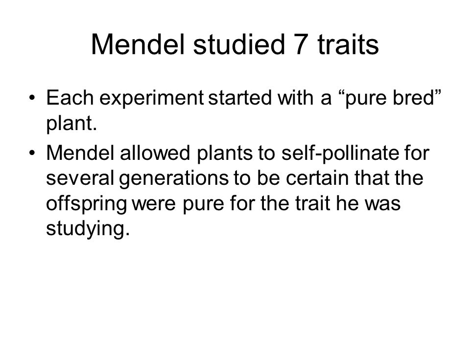Mendel studied 7 traits Each experiment started with a pure bred plant.