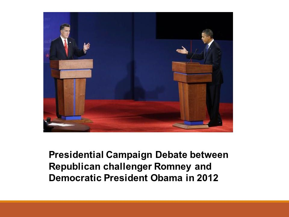 Presidential Campaign Debate between Republican challenger Romney and Democratic President Obama in 2012