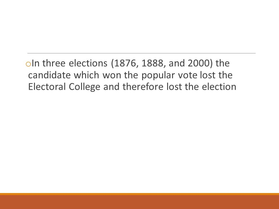 In three elections (1876, 1888, and 2000) the candidate which won the popular vote lost the Electoral College and therefore lost the election