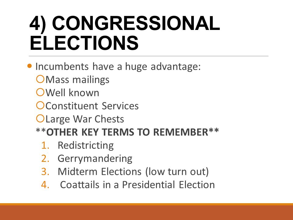 4) CONGRESSIONAL ELECTIONS