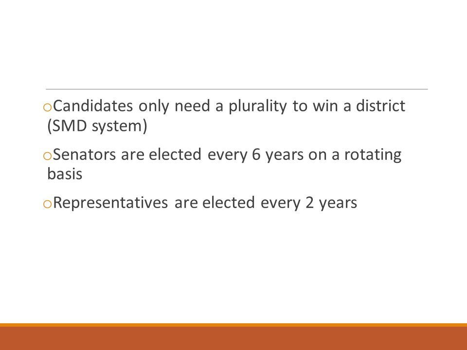 Candidates only need a plurality to win a district (SMD system)