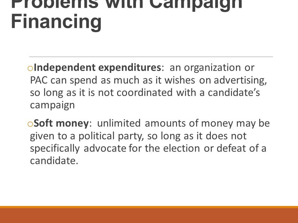 Problems with Campaign Financing