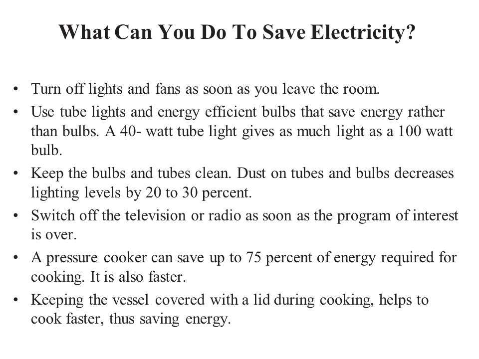 What Can You Do To Save Electricity