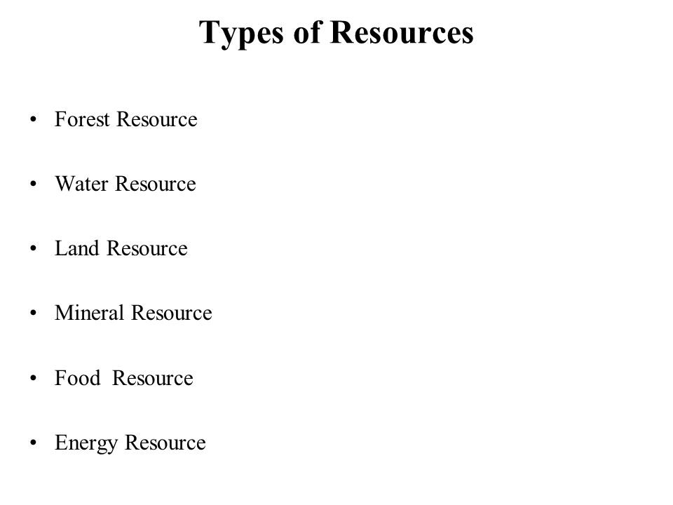 Types of Resources Forest Resource Water Resource Land Resource