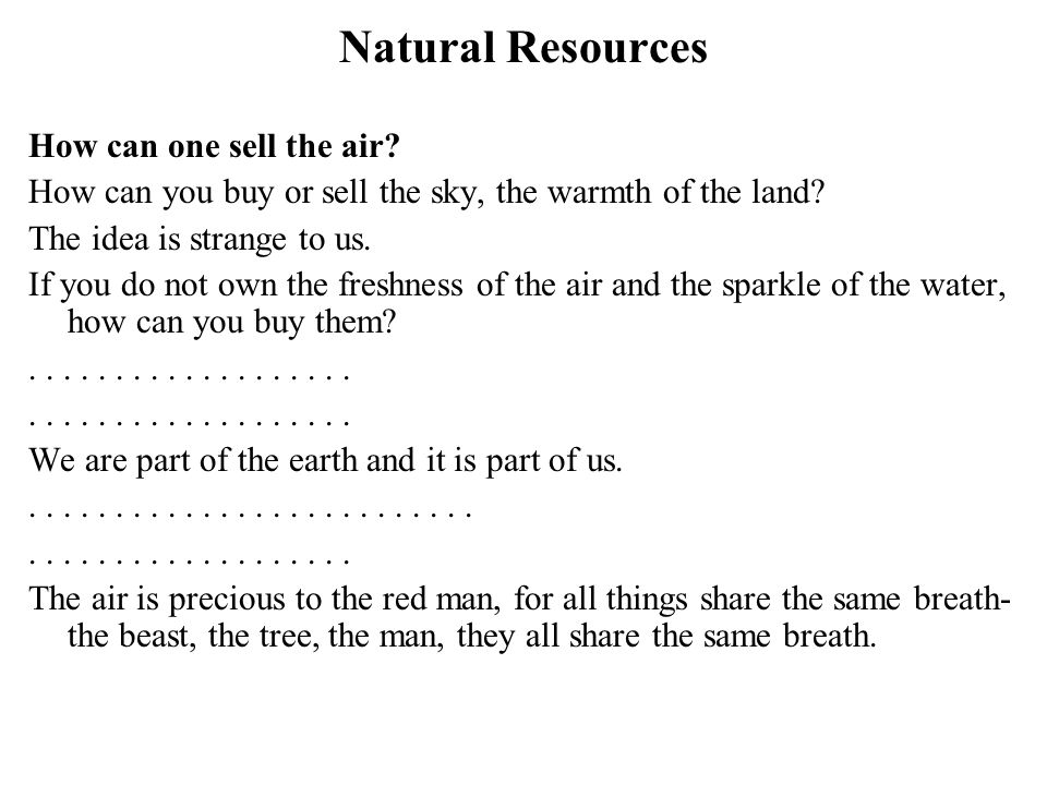 Natural Resources How can one sell the air