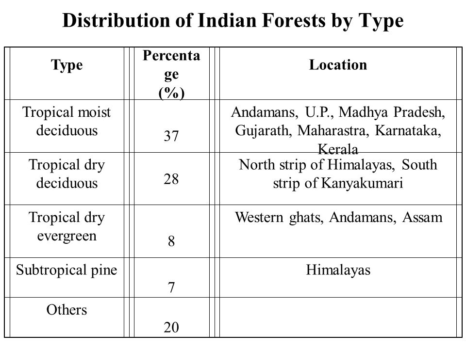Distribution of Indian Forests by Type