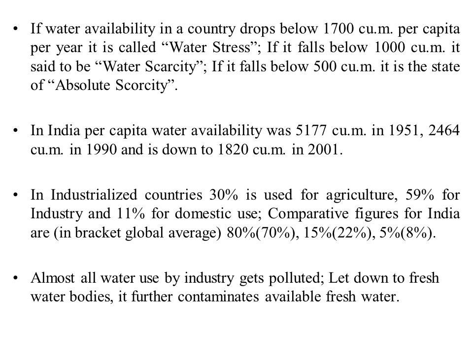 If water availability in a country drops below 1700 cu. m