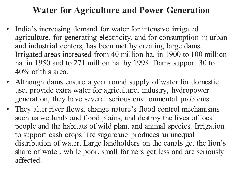 Water for Agriculture and Power Generation