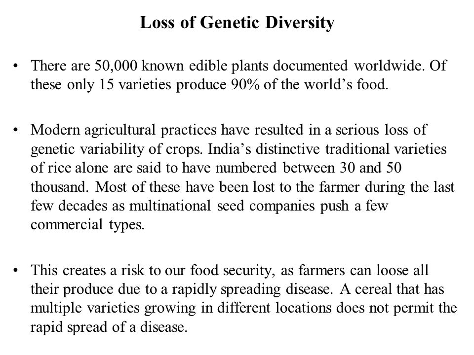 Loss of Genetic Diversity