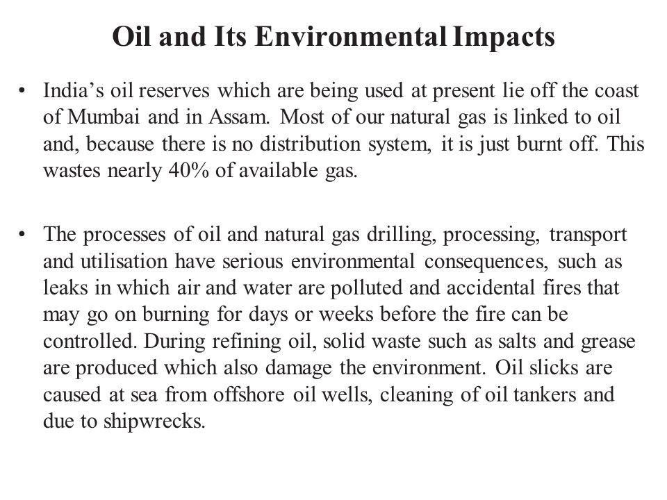 Oil and Its Environmental Impacts