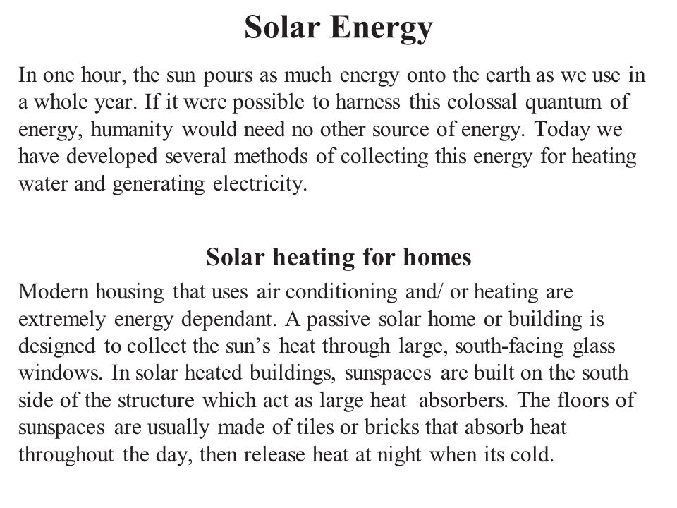 Solar heating for homes