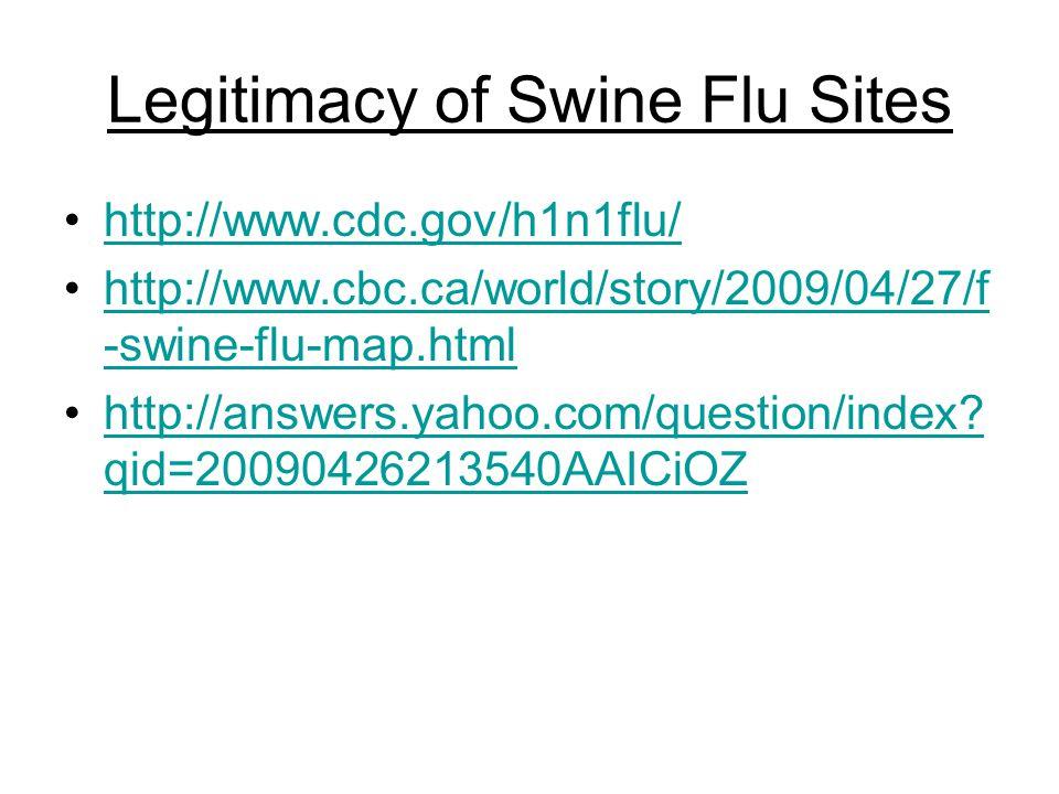 Legitimacy of Swine Flu Sites