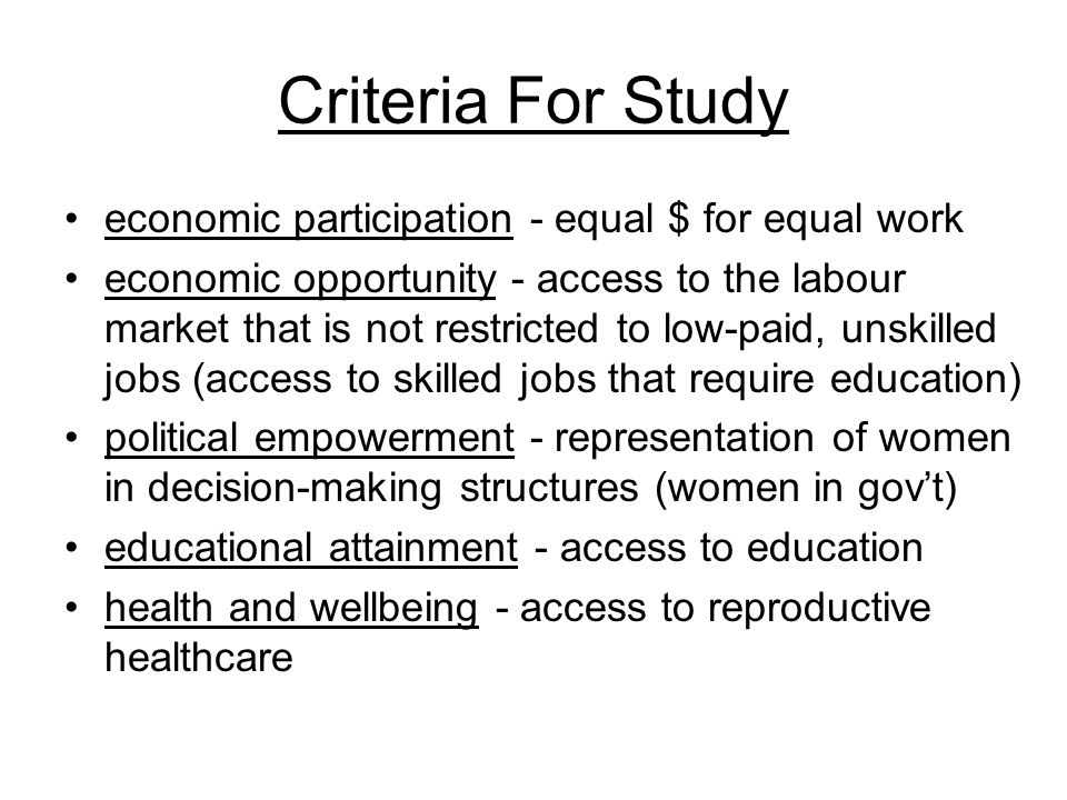 Criteria For Study economic participation - equal $ for equal work