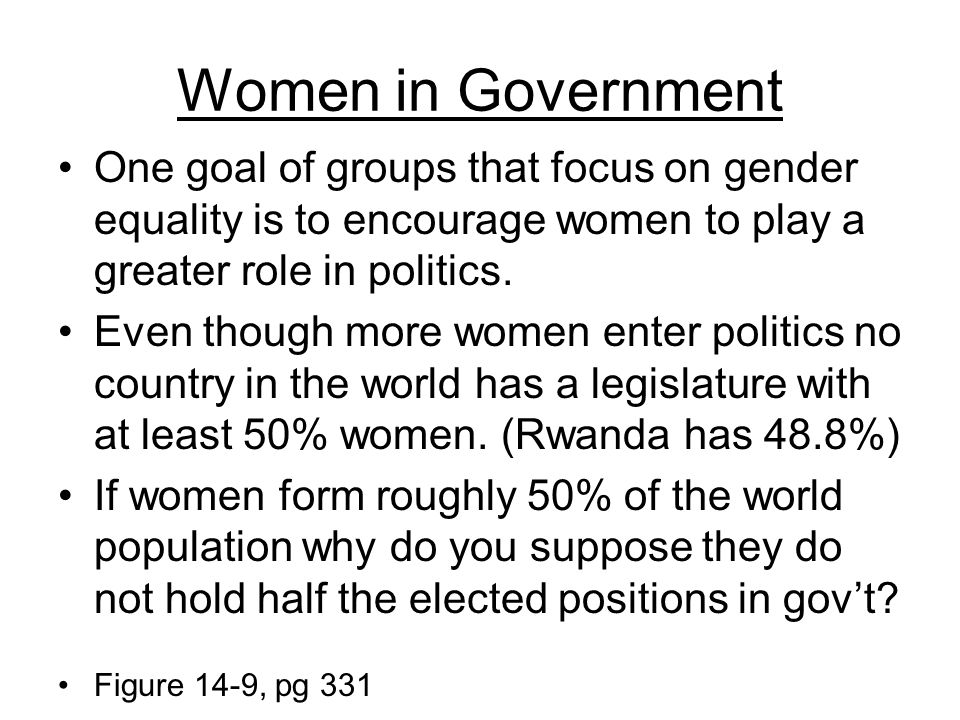 Women in Government One goal of groups that focus on gender equality is to encourage women to play a greater role in politics.