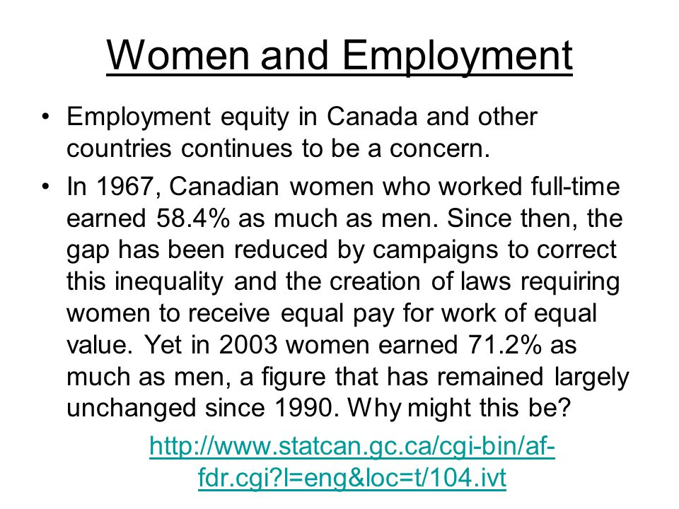Women and Employment Employment equity in Canada and other countries continues to be a concern.