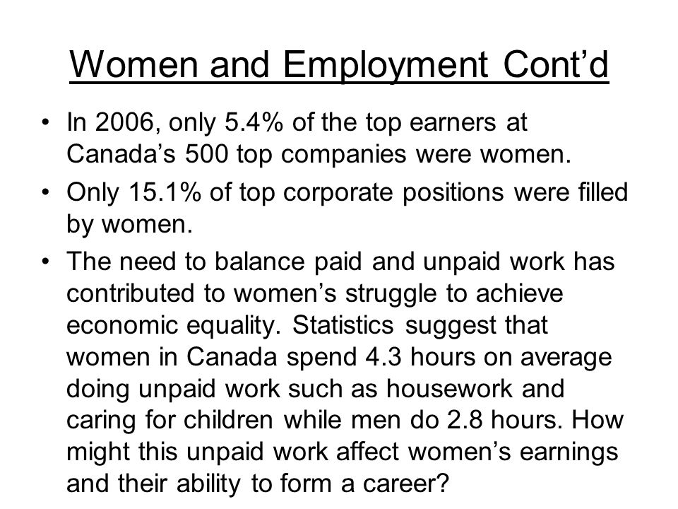 Women and Employment Cont'd