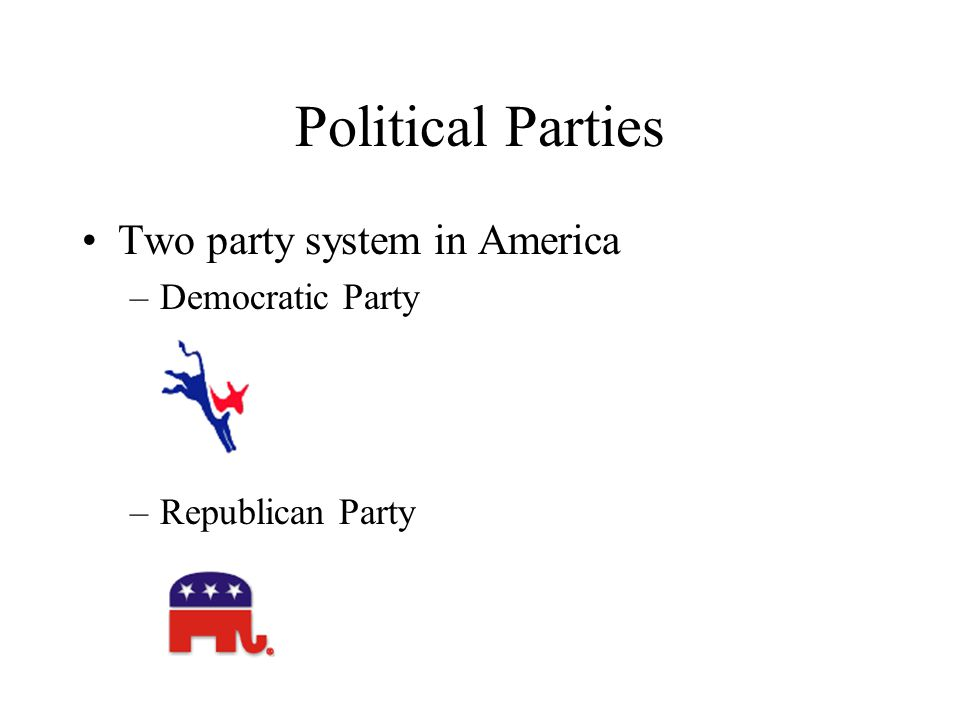 Political Parties Two party system in America Democratic Party