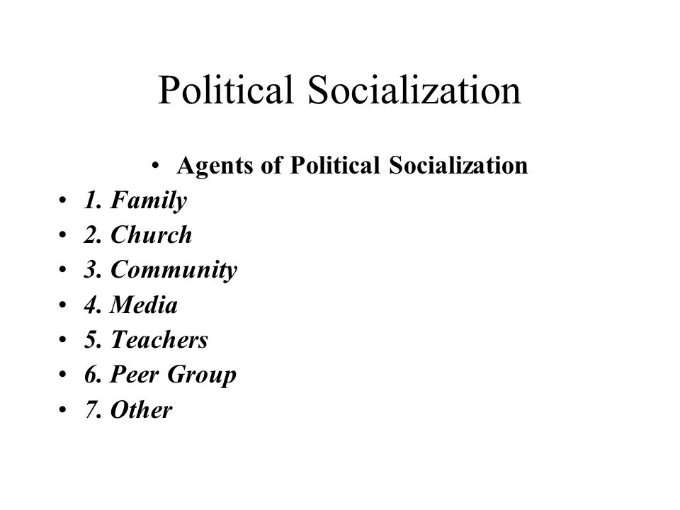 six factors of political socialization Political socialization is a life long process and a variety where the other agents of political socialization become fundamental factors in one's political.