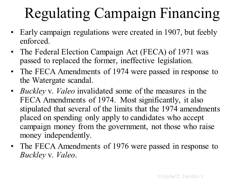 Regulating Campaign Financing