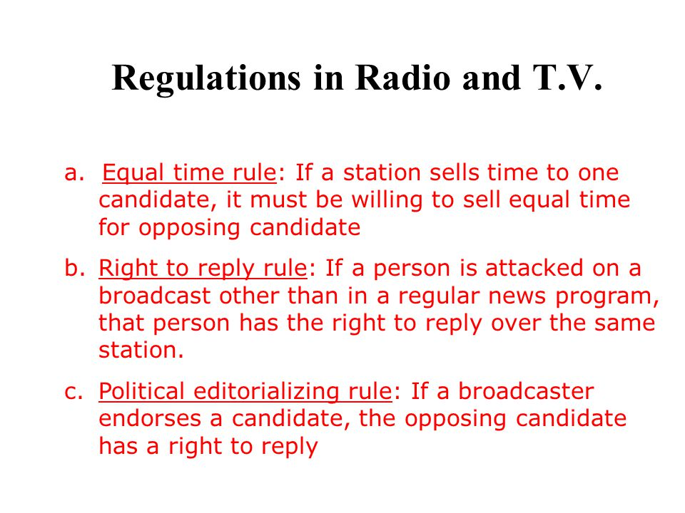 Regulations in Radio and T.V.