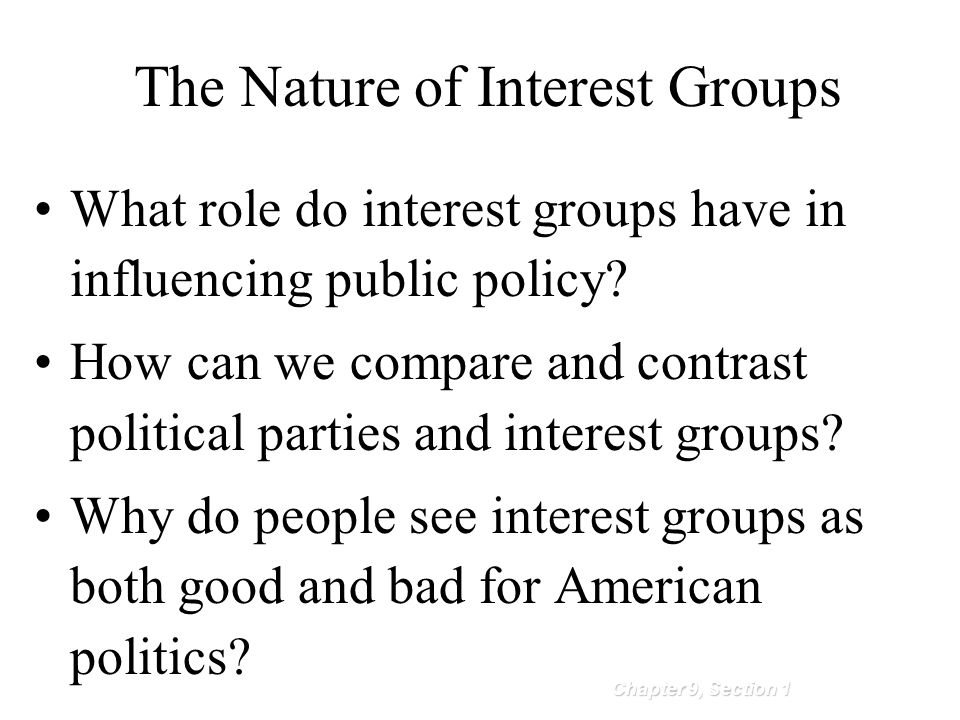 compare and contrast special interest groups and political parties Compare and contrast interest groups and interest groups and political parties interest groups offer that political parties don't and.