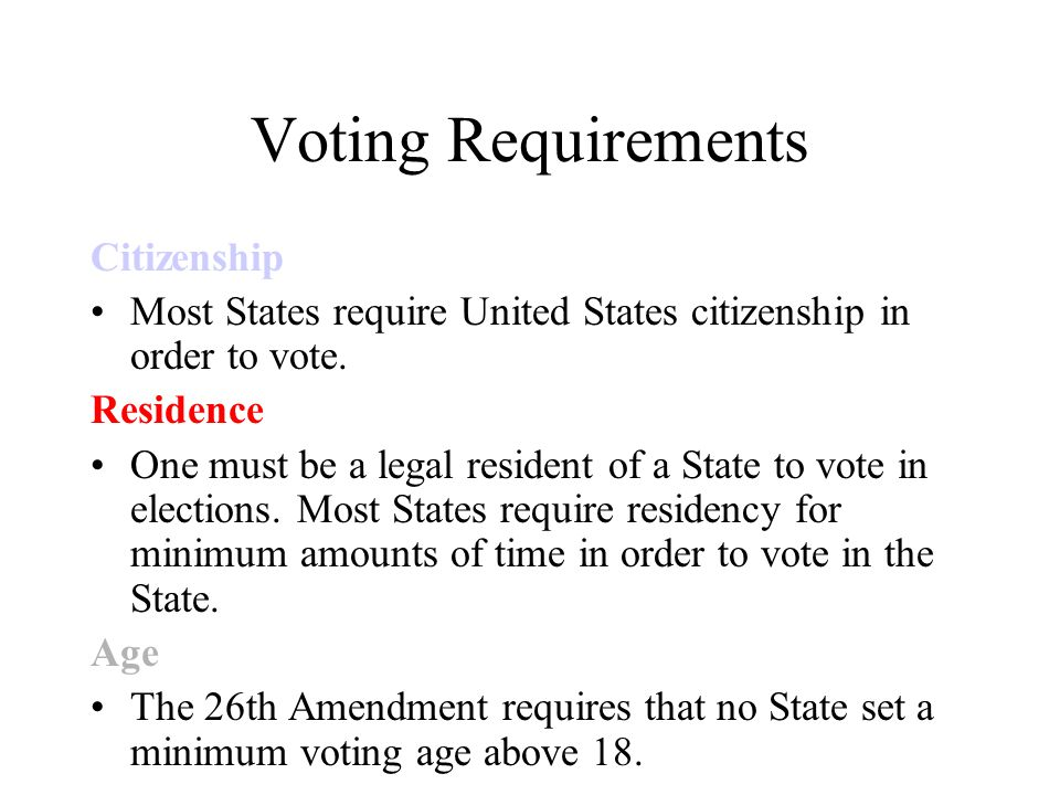 Voting Requirements Citizenship