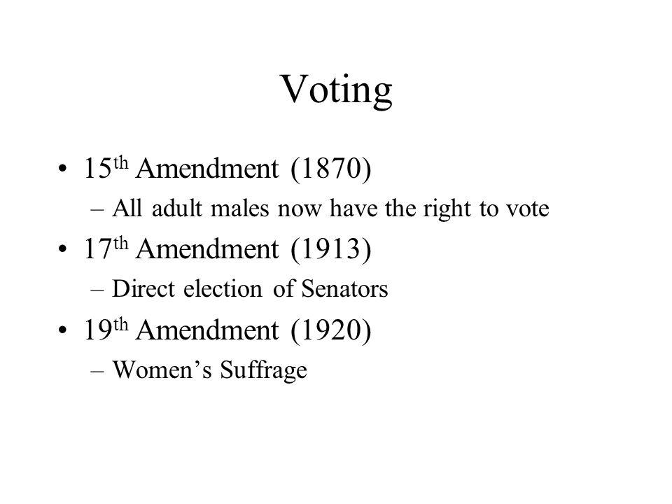 Voting 15th Amendment (1870) 17th Amendment (1913)
