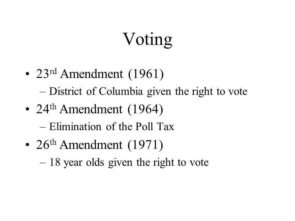 Voting 23rd Amendment (1961) 24th Amendment (1964)