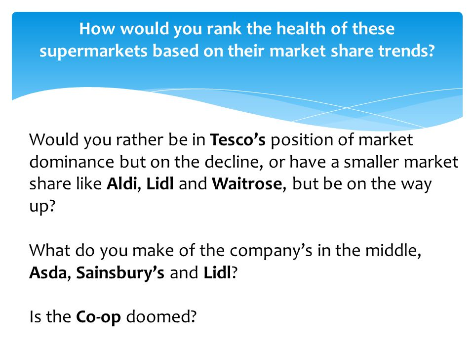 How would you rank the health of these supermarkets based on their market share trends