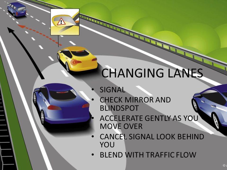 CHANGING LANES SIGNAL CHECK MIRROR AND BLINDSPOT