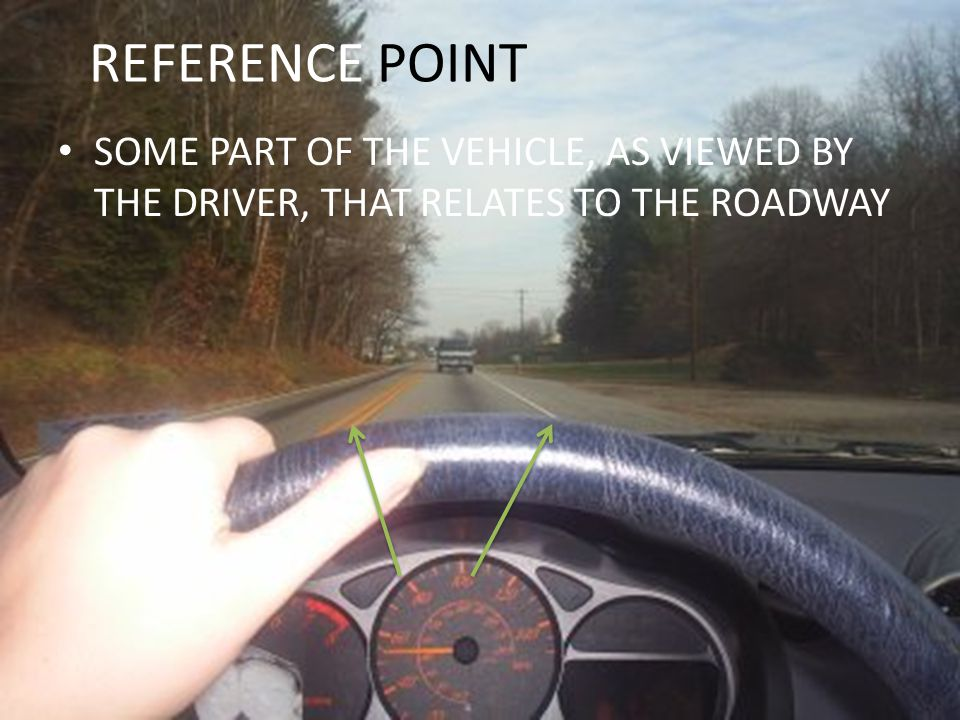 REFERENCE POINT SOME PART OF THE VEHICLE, AS VIEWED BY THE DRIVER, THAT RELATES TO THE ROADWAY