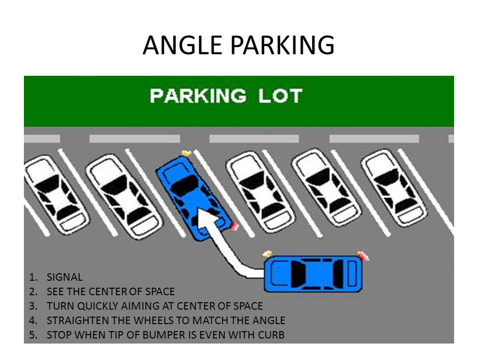 ANGLE PARKING SIGNAL SEE THE CENTER OF SPACE