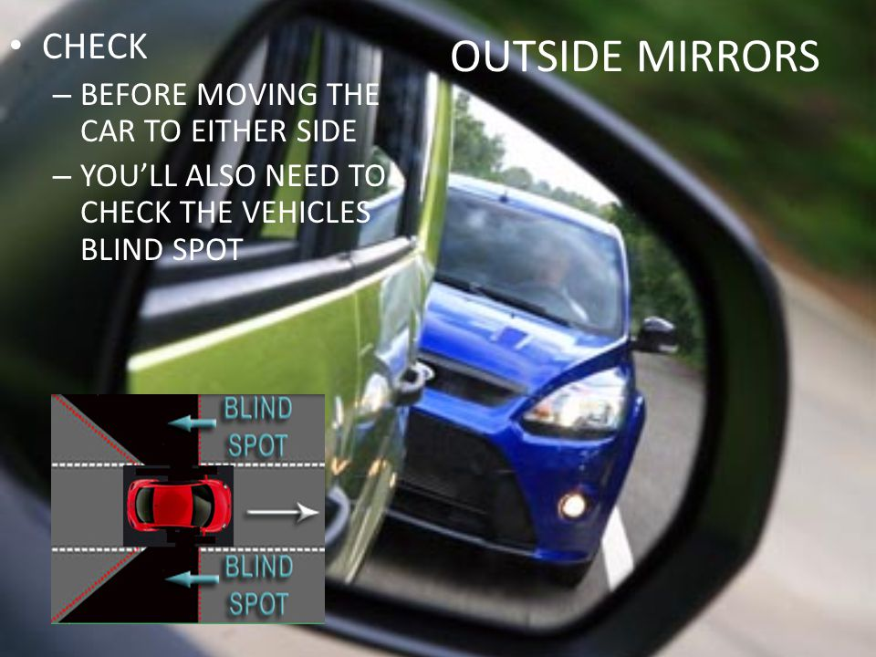 OUTSIDE MIRRORS CHECK BEFORE MOVING THE CAR TO EITHER SIDE
