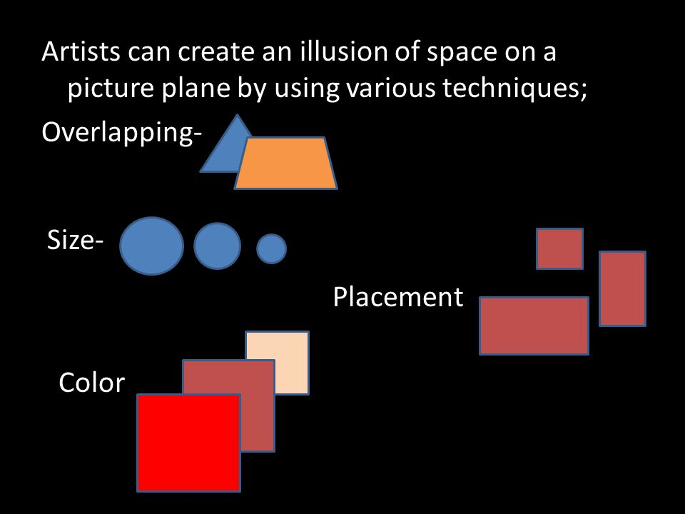 Artists can create an illusion of space on a picture plane by using various techniques; Overlapping-
