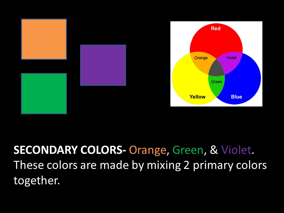 SECONDARY COLORS- Orange, Green, & Violet