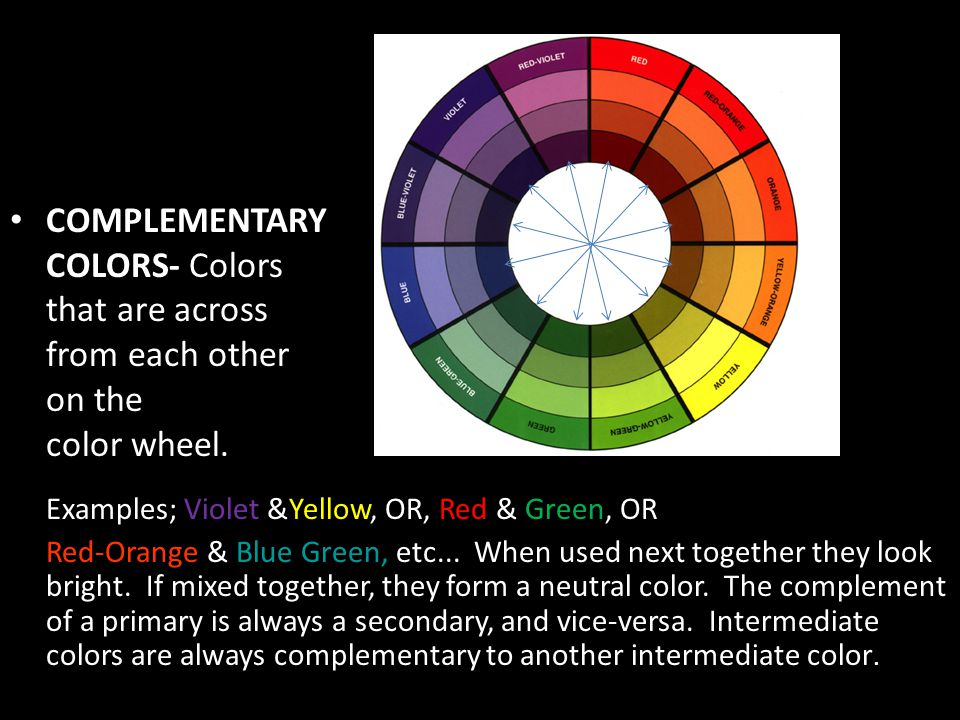 COMPLEMENTARY COLORS- Colors that are across from each other on the