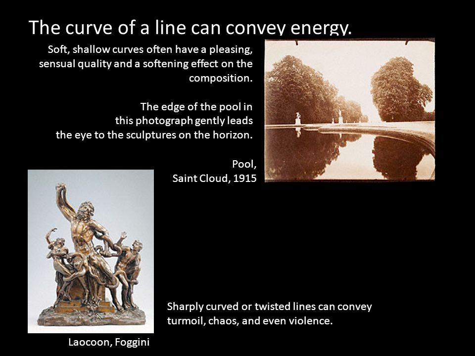 The curve of a line can convey energy.