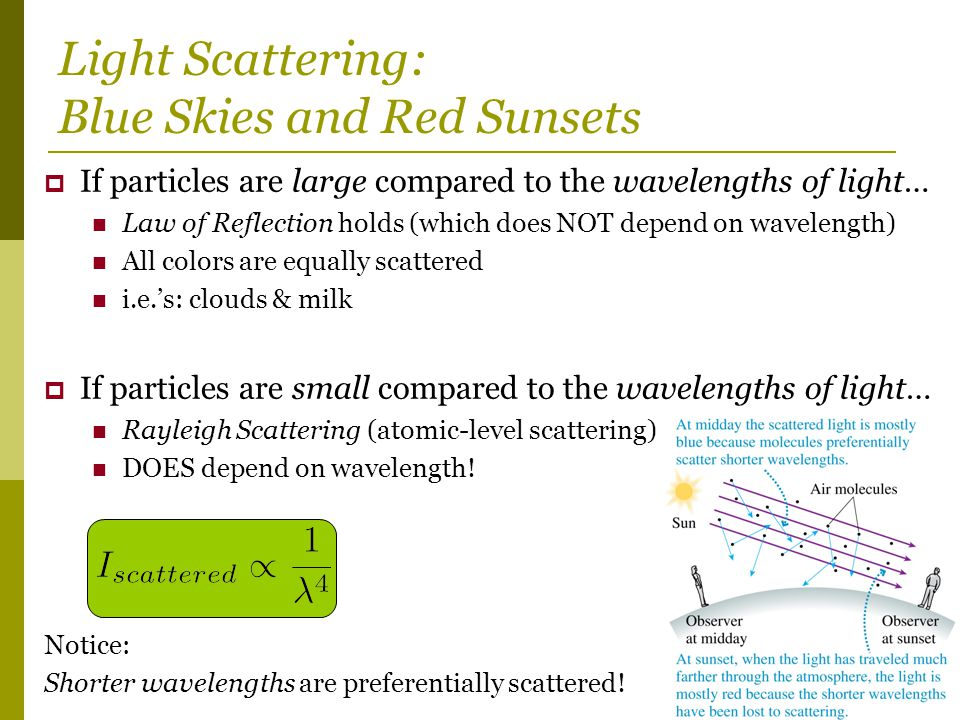 Light Scattering: Blue Skies and Red Sunsets