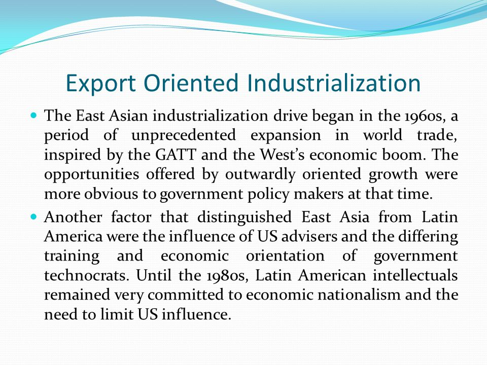 Export Oriented Industrialization
