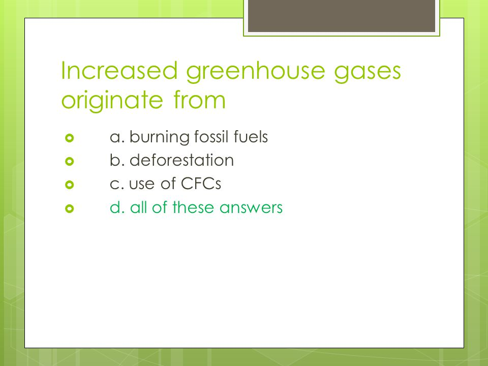 Increased greenhouse gases originate from
