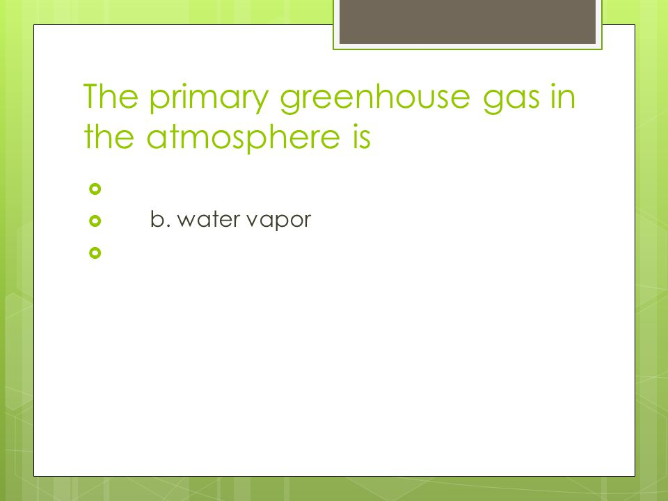 The primary greenhouse gas in the atmosphere is