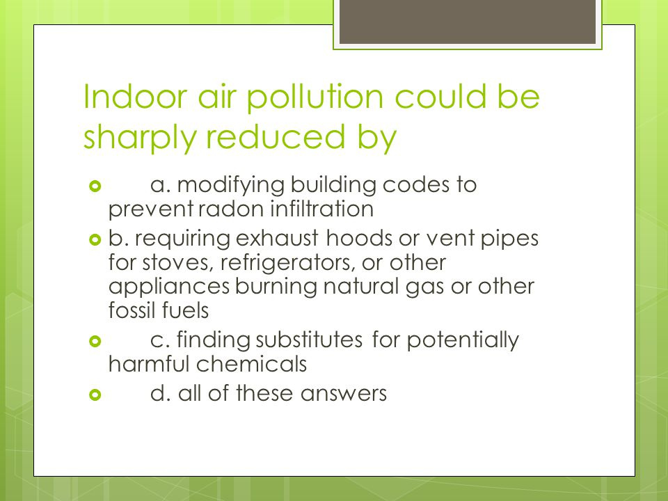 Indoor air pollution could be sharply reduced by