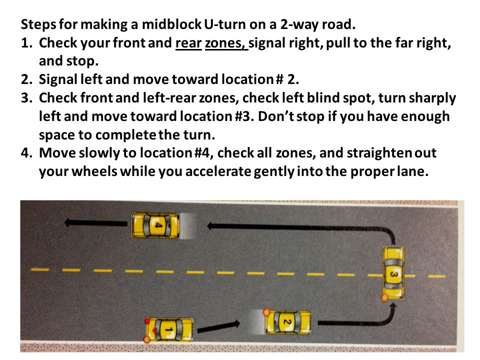 Steps for making a midblock U-turn on a 2-way road.