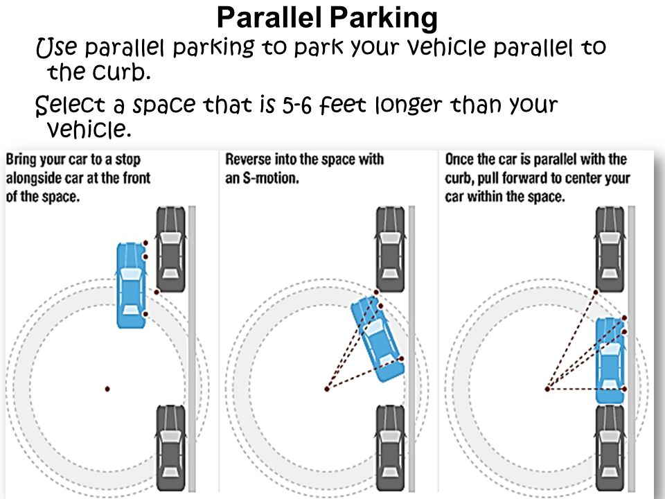 Parallel Parking Use parallel parking to park your vehicle parallel to the curb.