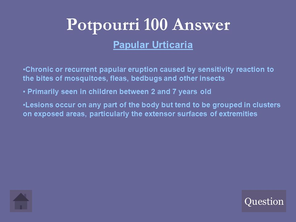 Potpourri 100 Answer Papular Urticaria Question
