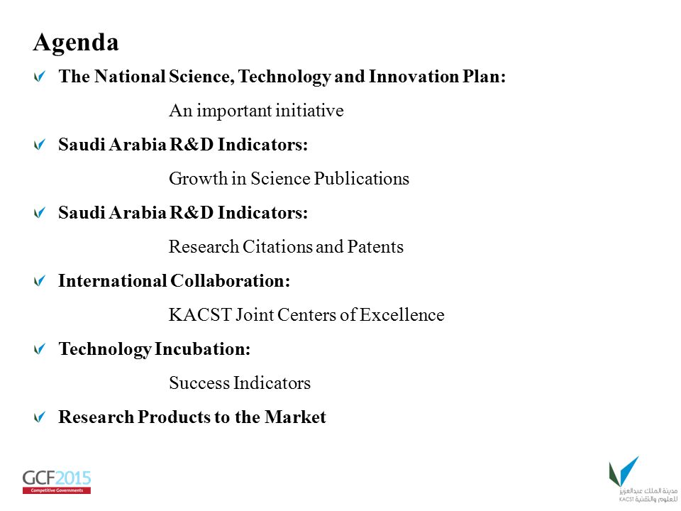 Agenda The National Science, Technology and Innovation Plan: