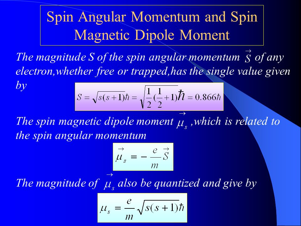 Spin Angular Momentum and Spin Magnetic Dipole Moment