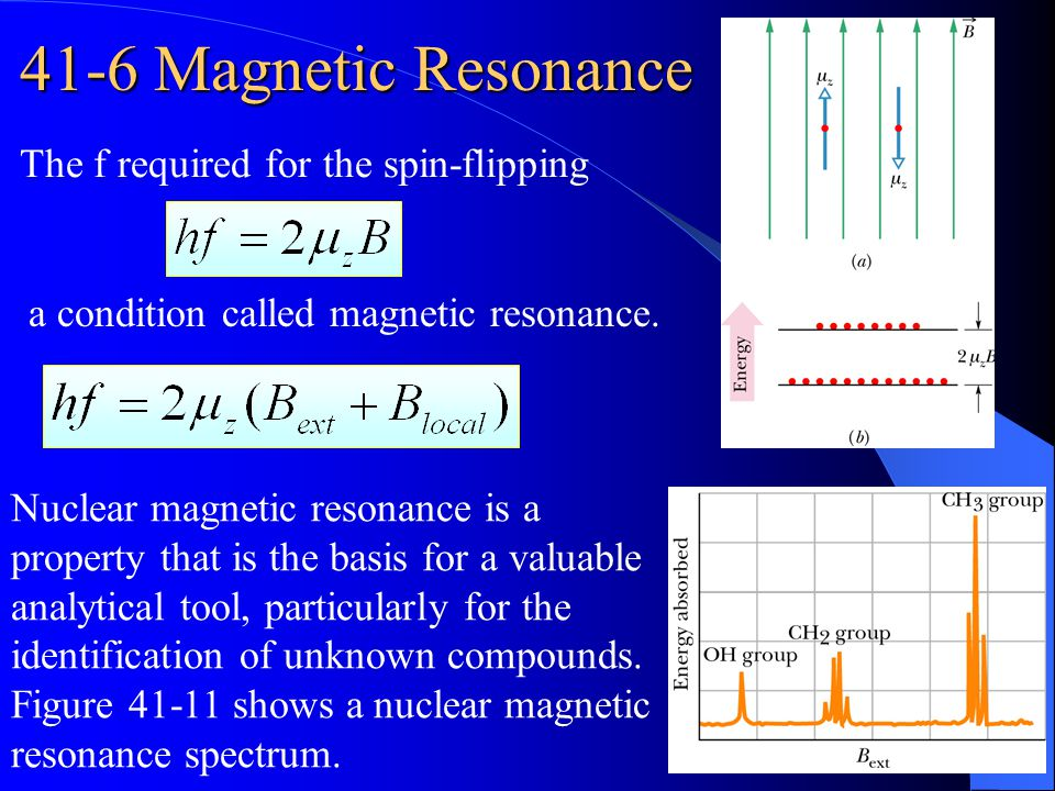 41-6 Magnetic Resonance The f required for the spin-flipping