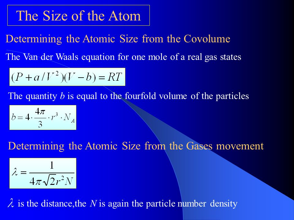 The Size of the Atom Determining the Atomic Size from the Covolume