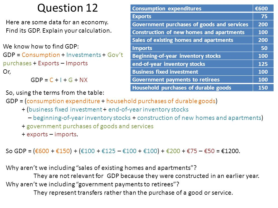 Question 12 Here are some data for an economy.